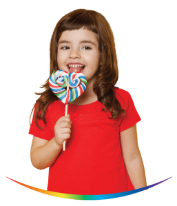 Kid with Spectra coloured lollipop